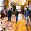 Visitors playing games in the Long Gallery