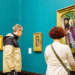 Visitors in the Pre-Raphaelite gallery