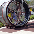 Giant human-sized hamster wheel in the Thinktank Science Garden