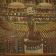 The intricate detail that surrounds the neck on the Egyptian coffin lid