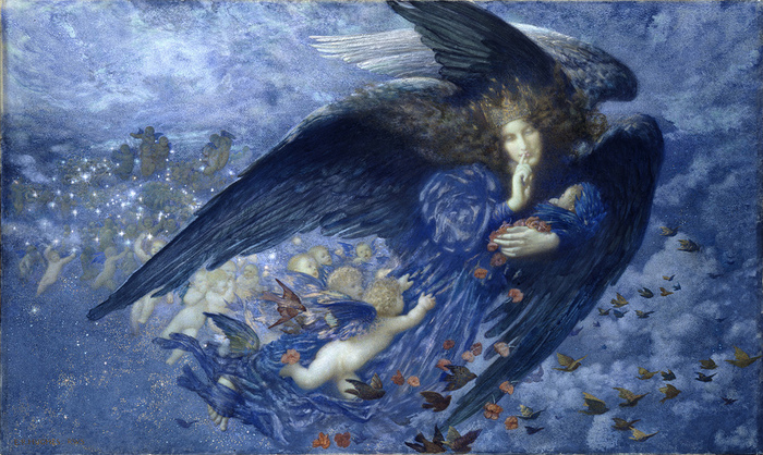 ER Hughes, Night with her Train of Stars, 1912 (Birmingham Museums)