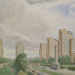 Proposed view of Nechells Parkway, 1942, by Reginald E Edgecombe for Birmingham Works Department