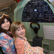 Children in the replica Spitfire cockpit