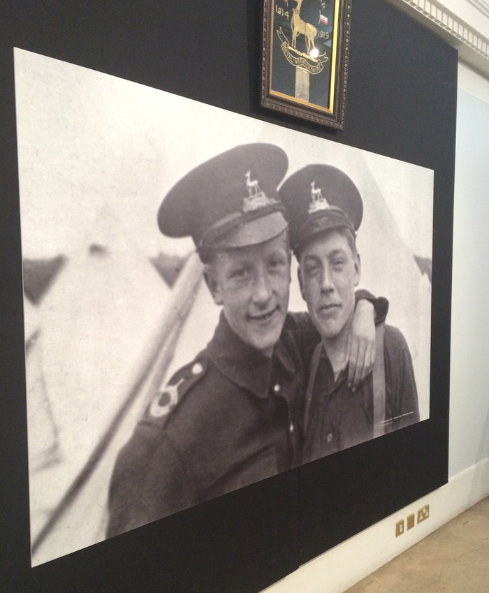 Large Photo On Display In The Exhibition Of Two Soldiers