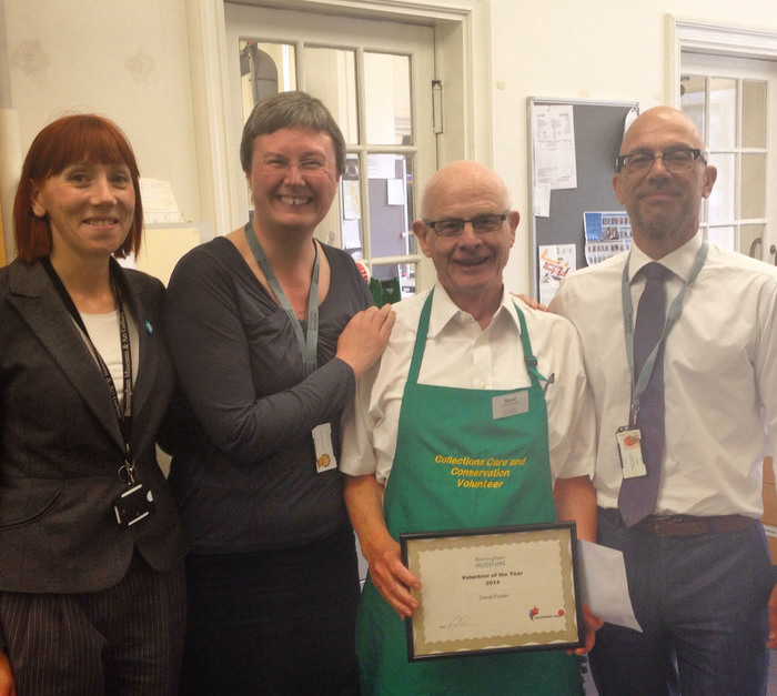 Volunteer David Foster being presented with his Volunteer of the Year award data-rel=
