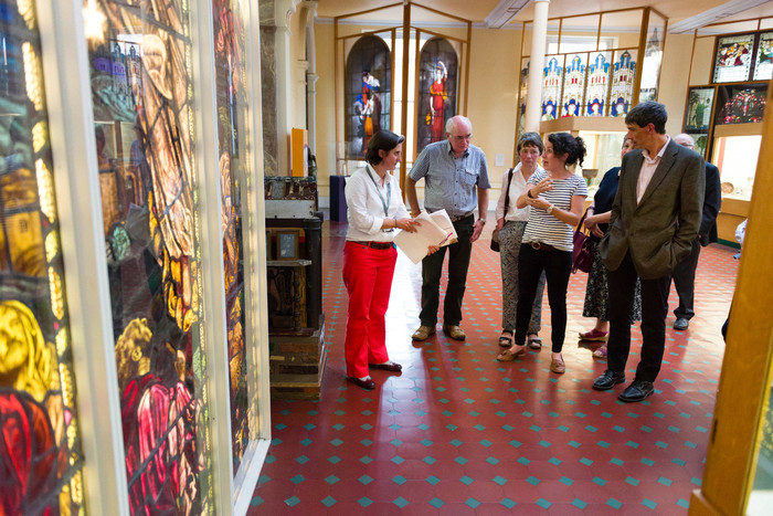 Tour of the Industrial gallery and looking at the stained glass window from a local church