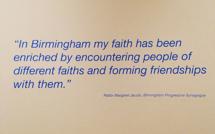 Quote from Rabbi: In Birmingham my faith has been enriched by enountering people of different faiths and forming friendships with them.