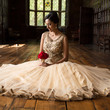 Bride in the long gallery at Aston Hall