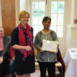Volunteer Ruth on the right, being presented with a runner up award by BMT Director of Engagement Janine Eason