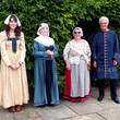 Blakesley Hall volunteers in costume outside Blakesley Hall