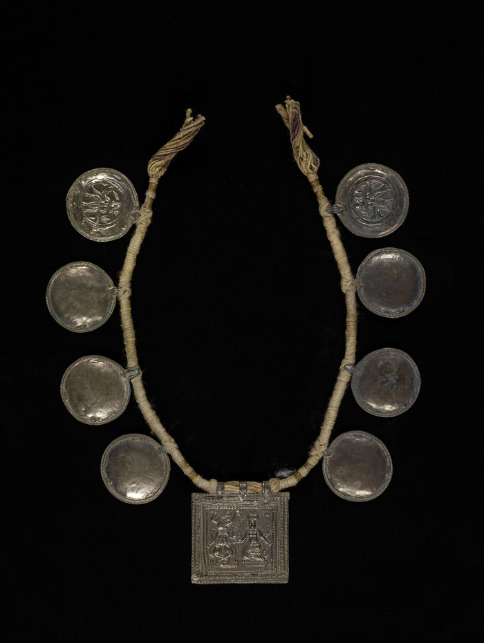 Necklace With Temple Tokens Depicting Ganesha And Parvati, Undated India