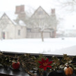 View from the Visitor Centre of Blakesley Hall in the snow