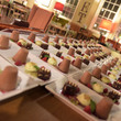 Dishes of desserts arranged in rows