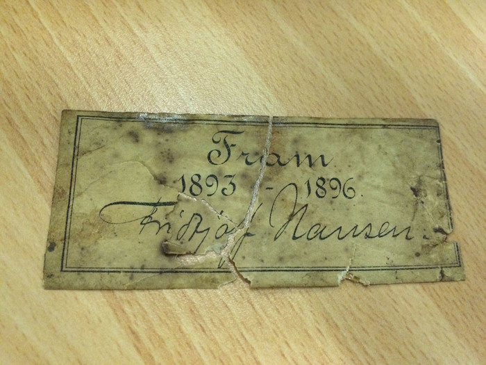 Handwritten note in the Name Of Fridtjof Nansen from the 'Fram' expedition to the north pole, 1893-6