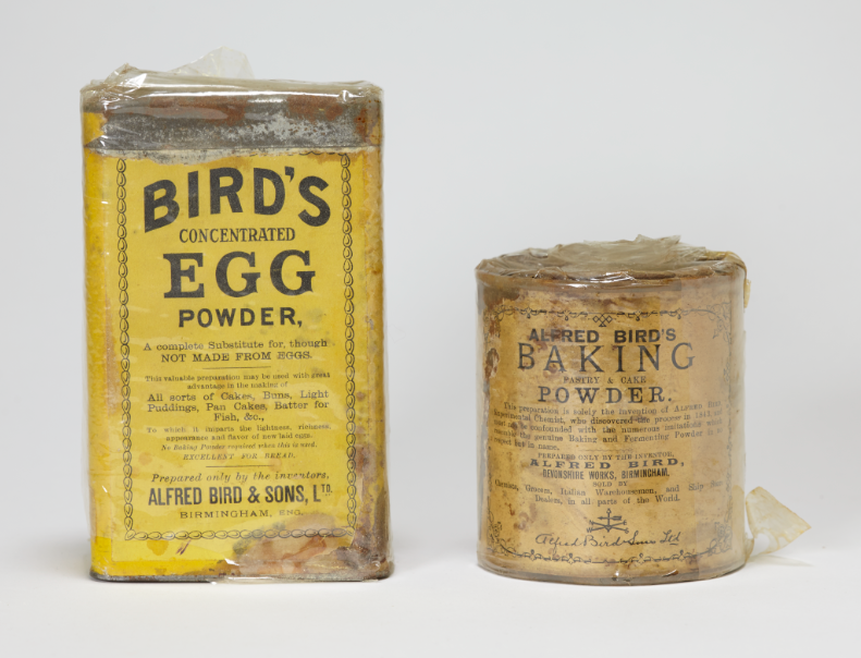 Two of the earliest Bird's tins in the collection