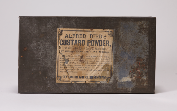 A tin of custard powder from a late nineteenth century expedition to the north pole