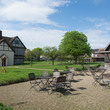Blakesley Hall grounds and outdoor seating area