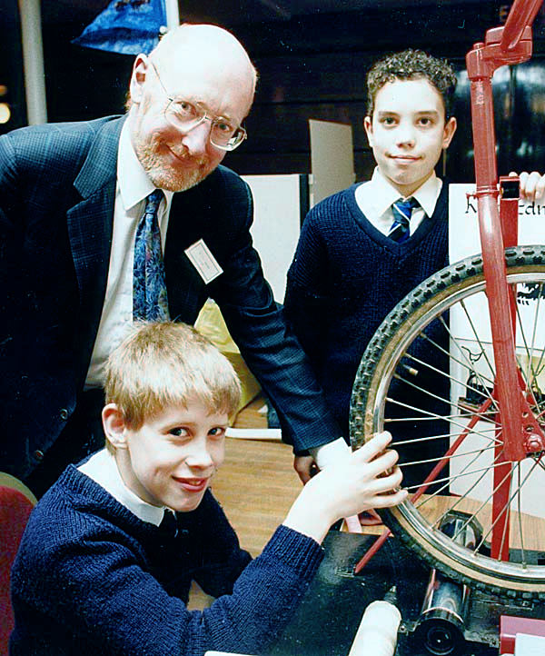 Sir Clive Sinclair meets young inventors in 1992. Picture Taken By Adrian Pingstone