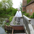 Allan by the millpond at Sarehole Mill