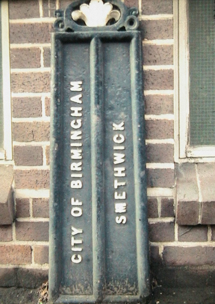 GKN sign which reads 'City of Birmingham / Smethwick'. Photo courtesy of Chris and Tony Bason.