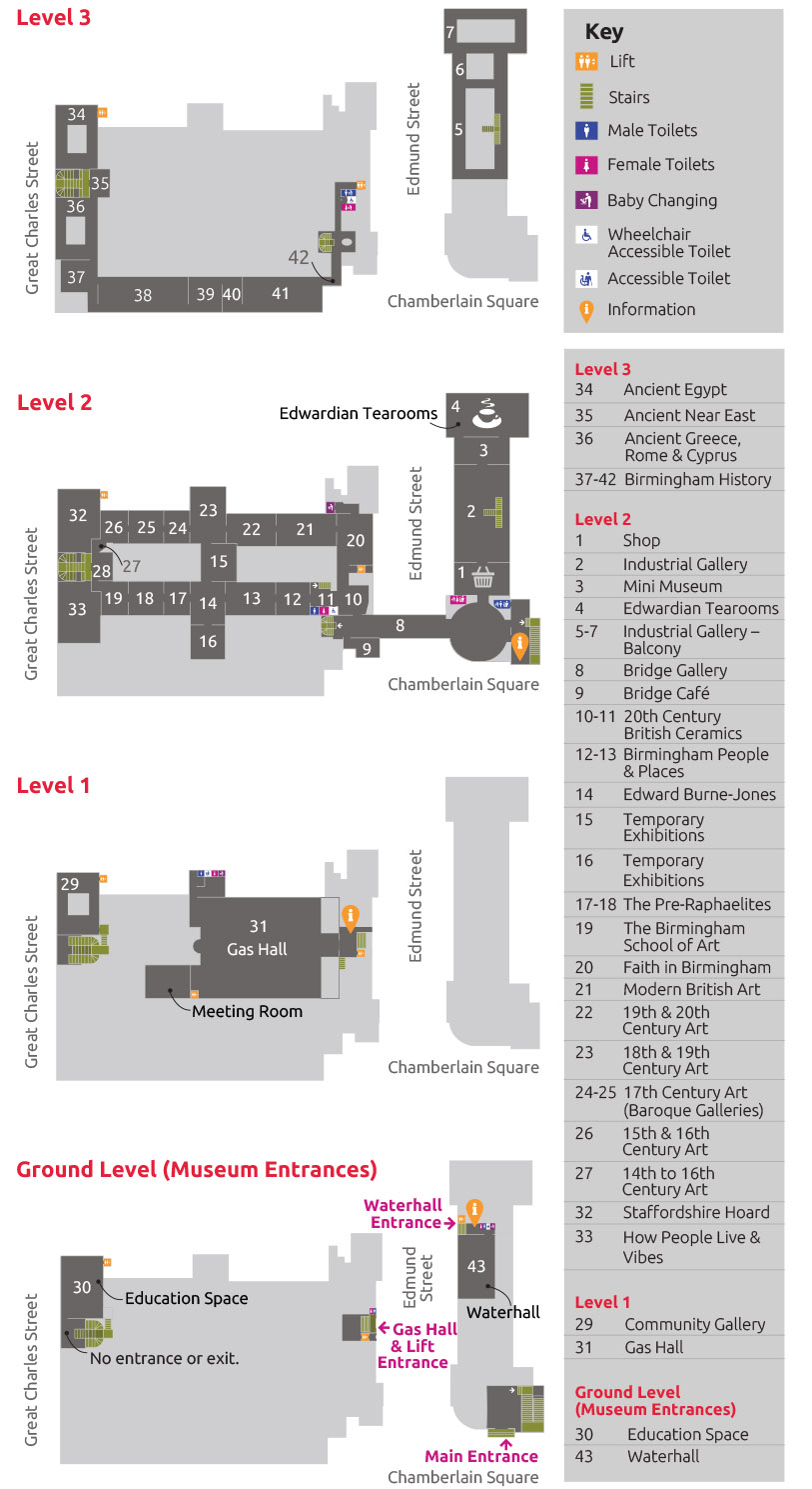 Map of Birmingham Museum and Art Gallery