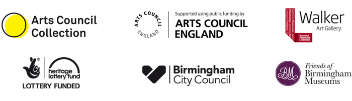 Arts Council Collection partner logos: Arts Council Collection, Arts Council England, Walker Art Gallery, Heritage Lottery Fund, Birmingham City Council, Friends of Birmingham Museums