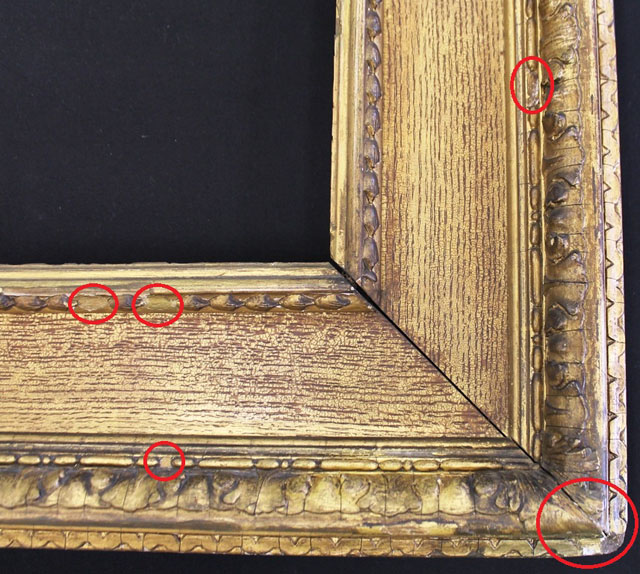 Before treatment: Areas of the corner of the frame requiring treatment