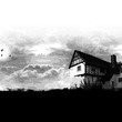 Blakesley Hall graphic in black and white showing the house, garden and illustrated bats in the sky