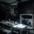The Great Parlour at Blakesley Hall at night