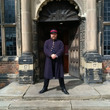 Man in Victorian costume outside Aston Hall