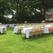 The garden at Soho House set up for a wedding
