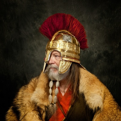 Model wearing the reconstructed Staffordshire Hoard helmet