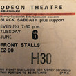 Black Sabbath Concert, Odeon Theatre Birmingham. Courtesy Home of Metal