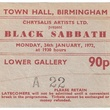 Black Sabbath Concert, Town Hall, Birmingham ticket, 1977. Courtesy Home of Metal