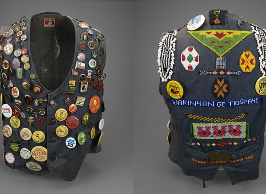 Gillian%20smith%27s%20waistcoat%20with%20miner%27s%20strike%20badges%2c%201980s