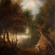 [Before conservation] A Wooded Landscape, Autumn Evening, c. 1800 After Thomas Gainsborough