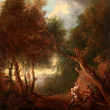[After conservation] A Wooded Landscape, Autumn Evening, c. 1800 After Thomas Gainsborough