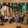 Dippy on Tour - crowd standing in front of Dippy the Diplodocus
