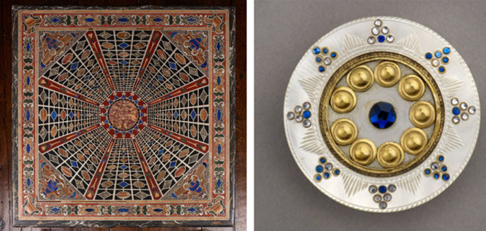 on the Pietra Dura table and button