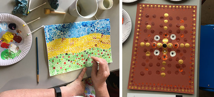 Two abstract dot paintings