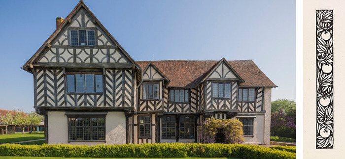 Blakesley Hall (left) and Woodcut by William Morris (right)