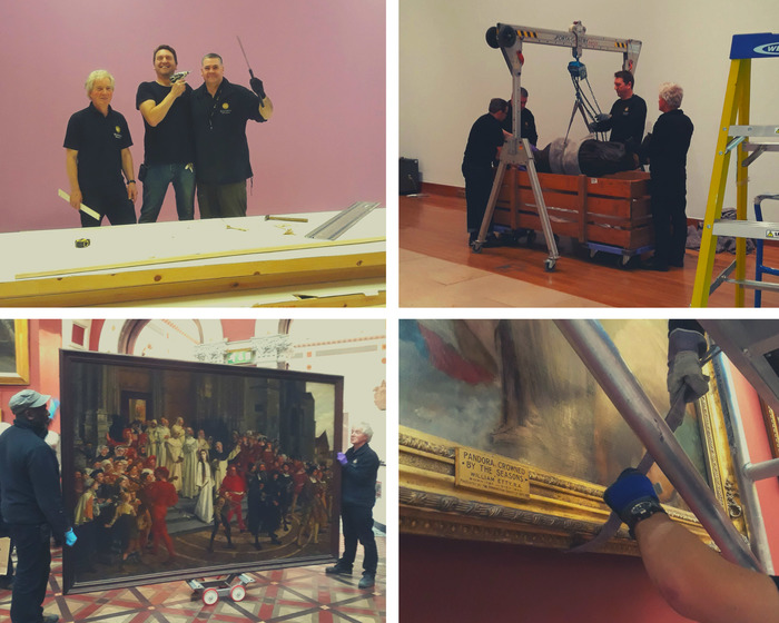 Technicians installing artworks around Birmingham Museum and Art Gallery