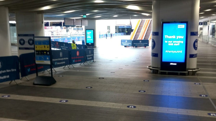 An empty New Street Station, by Michael, who used to sell the Big Issue in the station before lockdown
