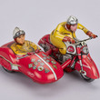 Tinplate toy motorbike with sidecar